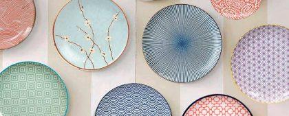 decorar paredes con platos de estilo japonés